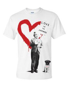 ALBERT EINSTEIN LOVE IS THE ANSWER - WHITE T-SHIRT