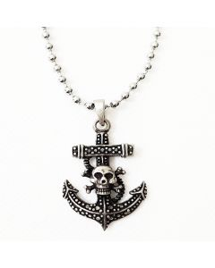ANCHOR SKULL ANTIQUE PEWTER PENDANT WITH BALL CHAIN