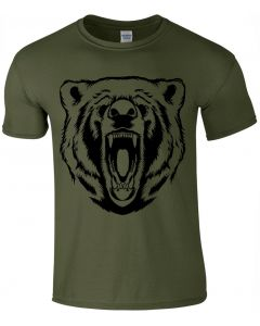 GRIZZLY BEAR FACE - OLIVE  T-Shirt