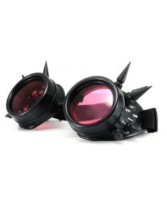 STEAM PUNK  WELDING CYBER GOGGLES WITH SPIKES - BLACK - RED LENS