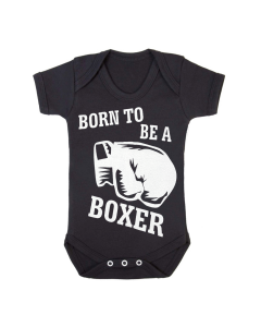 BORN TO BE A BOXER - BLACK BABY GROWS