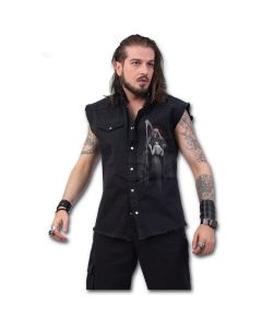 DEAD KISS - SLEEVELESS STONE WASHED BLACK WORKSHIRT