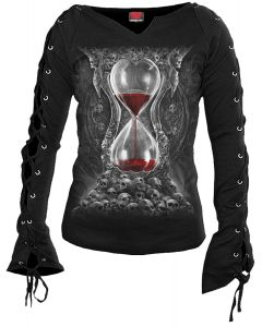 SANDS OF DEATH - BLACK LACEUP SLEEVE TOP