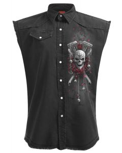 DOTD BIKERS  - SLEEVELESS STONE WASHED BLACK WORKSHIRT