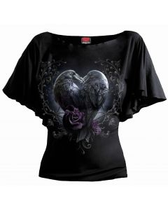 RAVEN HEART - BOAT NECK BAT SLEEVE BLACK TOP