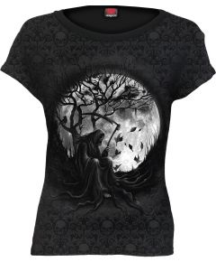 KILLING MOON - SCROLL IMPRESSION BLACK CAP SLEEVE TOP