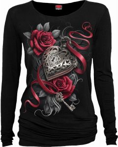 HEART LOCKET - LONG SLEEVE BLACK TOP