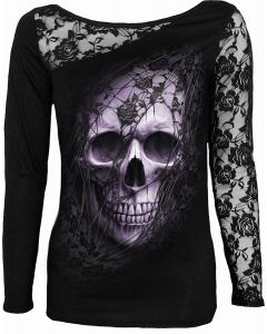 LACE SKULL - LACE ONE SHOULDER TOP