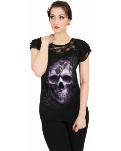 LACE SKULL - LACE LAYERED CAP SLEEVE BLACK TOP