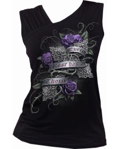 EVERY ROSE - GATHERED SHOULDER SLANT VEST TOP
