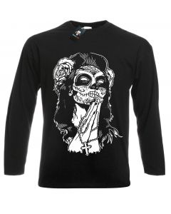 MEXICAN SKULL - BLACK LONG SLEEVE T-SHIRT