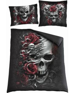 SKULLS N' ROSES  -DOUBLE DUVET COVER + UK AND EU PILLOW CASE