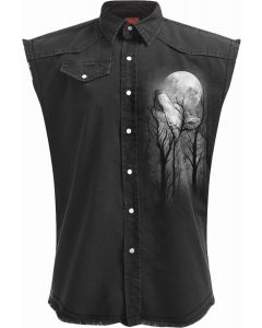 FOREST WOLF - SLEEVELESS STONE WASHED BLACK WORKER