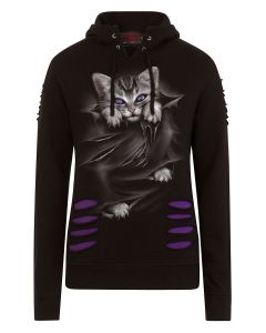 BRIGHT EYES - LARGE HOOD RIPPED PURPLE-BLACK HOODY