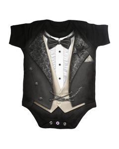 TUXED BLACK BABY GROWS