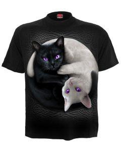 YIN YANG CATS  - FRONT PRINT BLACK T-SHIRT