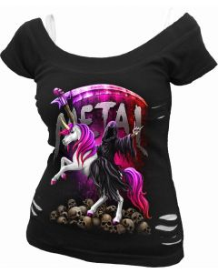 METALLICORN - 2IN1 WHITE & BLACK RIPPED TOP