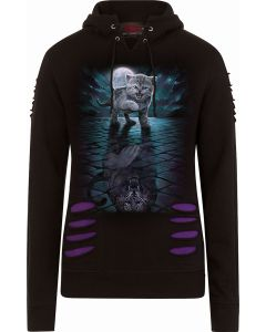 WILD SIDE - LARGE HOOD RIPPED PURPLE-BLACK HOODY