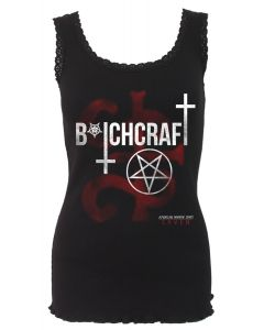 COVEN - BITCHCRAFT - AMERICAN HORROR STORY CROCHET COLLAR RIBBED BLACK VEST TOP