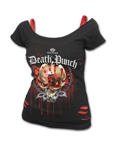 OFFICIAL FIVE FINGER DEATH PUNCH - ASSASSIN - 2in1 Red Ripped Top