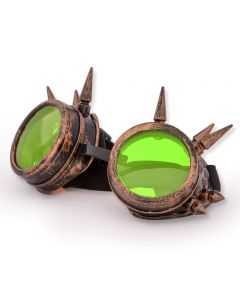 STEAM PUNK  WELDING CYBER GOGGLES WITH SPIKES - RED COPPER - NEON LENS