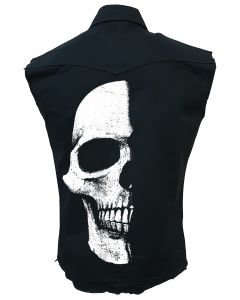 HALF SKULL - SLEEVELESS BLACK WORKER SHIRT