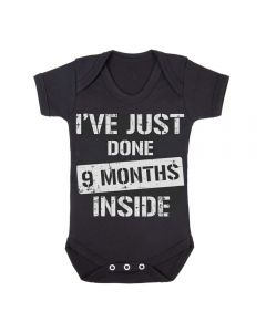 9 MONTHS INSIDE - BLACK BABY GROWS