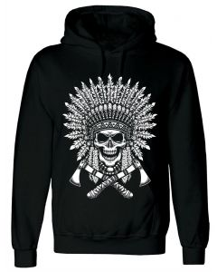 TRIBAL NATIVE AMERICAN TATTOO - MEN'S BLACK HOODY