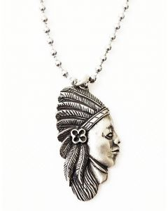 NATIVE SPIRIT ANTIQUE  PEWTER PENDANT WITH BALL CHAIN