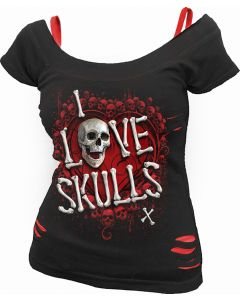 LOVE SKULLS - 2IN1 RIPPED BLACK & RED TOP