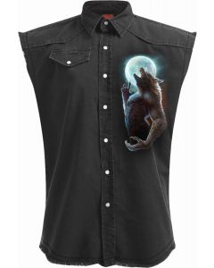 WILD MOON - SLEEVELESS STONE WASHED BLACK WORKER
