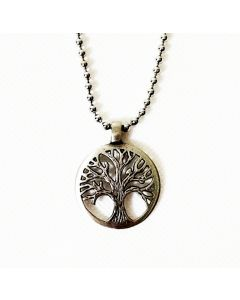 TREE OF LOVE ANTIQUE PEWTER PENDANT WITH BALL CHAIN