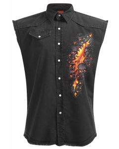 SKULL LAVA - SLEEVELESS STONE WASHED BLACK WORKSHIRT