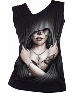 DEAD LOVE - GATHERED SHOULDER SLANT VEST TOP
