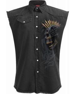 BLACK GOLD - SLEEVELESS STONE WASHED BLACK WORKER