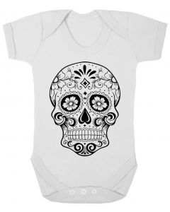 SUGAR SKULL - WHITE BABY GROWS