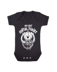 MY FIRST METAL T-SHIRT - BLACK BABY GROWS