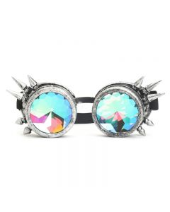 KALEIDOSCOPE WELDING CYBER GOGGLES WITH SPIKES -  BRUSHED SLIVER