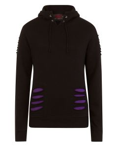 GOTHIC ROCK - LARGE HOOD RIPPED PURPLE-BLACK HOODY