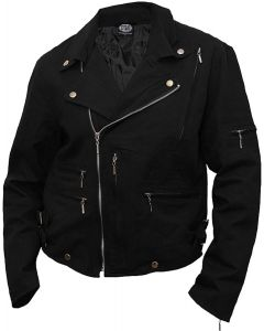 METAL STREETWEAR LINED BIKER JACKET BLACK