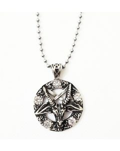OCCULT PENTAGRAM- 5 CLEAR BEADS -  ANTIQUE PEWTER PENDANT WITH BALL CHAIN