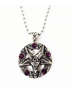 OCCULT PENTAGRAM- 5 PURPLE BEADS -  ANTIQUE PEWTER PENDANT WITH BALL CHAIN