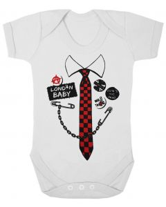 PUNK TIE - WHITE BABY GROWS