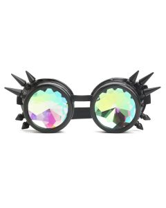 KALEIDOSCOPE WELDING CYBER GOGGLES WITH SPIKES -  BLACK