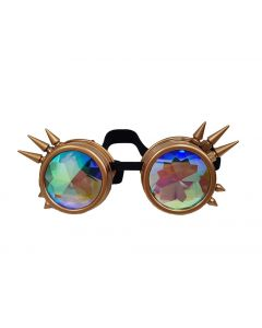 KALEIDOSCOPE STEAM PUNK  WELDING CYBER GOGGLES WITH SPIKES - RETRO GOLD
