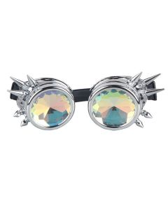 KALEIDOSCOPE WELDING CYBER GOGGLES WITH SPIKES - SILVER