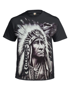 INDIAN CHIEF - BLACK SUBLIMATION T-SHIRT