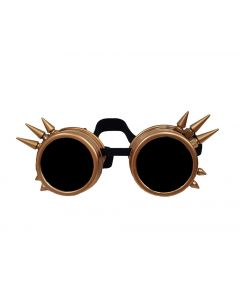 STEAM PUNK  WELDING CYBER GOGGLES WITH SPIKES - RETRO GOLD - BLACK LENS