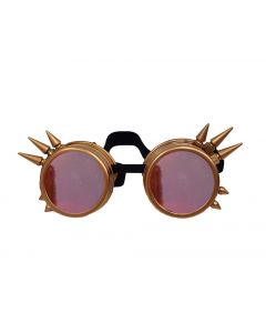 STEAM PUNK  WELDING CYBER GOGGLES WITH SPIKES - RETRO GOLD - RED LENS