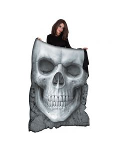 SOLEMN SKULL FLEECE BLANKET WITH DOUBLE SIDED PRINT